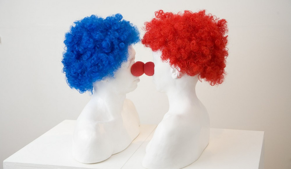 Comic Relief , 2007  Plaster cast , foam, 2 wigs, 2 plynths . Variable Dimensions